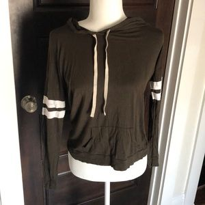 Lightweight hoodie. Olive with white stripes